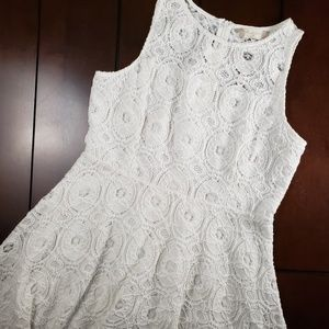 Altard State Fit & Flare Lace Dress Off White